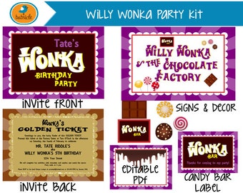 Willy Wonka and the Chocolate Factory, Willy Wonka Party Printable, Golden Ticket Birthday Invite, Digitable Birthday Party Kit