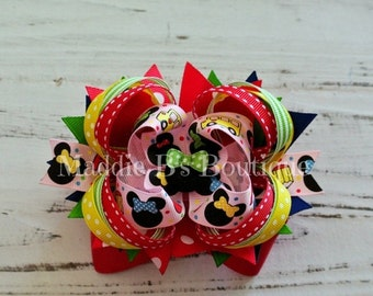 CLOSING SALE Back to School Minnie Mouse hair bow-made by Maddie B's Boutique on Etsy