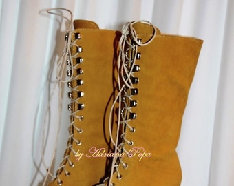 50% April SALE Victorian Boots Ocher / Mustard noboco leather Ankle boots Ocher leather / Mustard colour Leather Custom booties Stage shoes