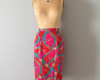SALE...silk skirt || nautical 1980s pencil skirt || bright silk skirt