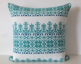 Aztec City Viridian Teal Pillow Cover
