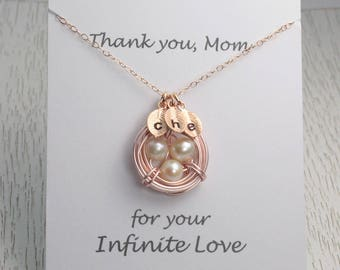 Personalized Mother Necklace, Rose Gold Bird Nest Pendant, Wedding Gift from Daughter and son,Bridal Gift for Mother-in-Law, Message Card