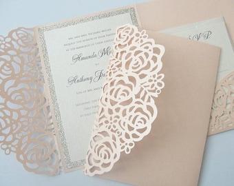 Wedding Invitation, Laser Cut Pocketfold Wedding Invitation, Pocketfold Invite, Lace Wedding Invite, LASER POCKETFOLD 1 GLITTER Coral Blush