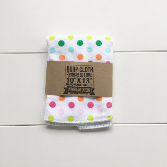 Multi Color Polka Dot Cotton Flannel Burp Cloth - Baby Shower Gift - New Mom Essential