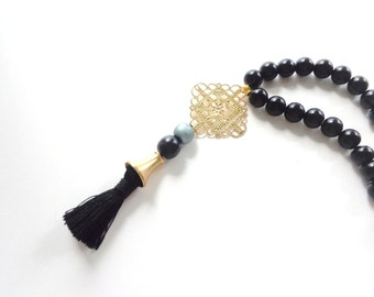 Black Tassel necklace gold black boho necklace