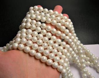 Shell pearl 10 mm round  lustruous white pearl ab finsih  1 full strand  40 beads - SPT43