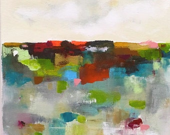 Colorful Abstract Landscape Original Painting in Frame - Colorpatch Landscape 2 12 x 12