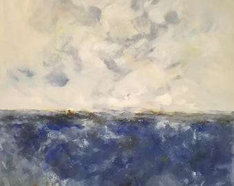 Blue Abstract Seascape Painting- Ocean Blues 36 x 48