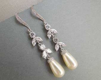 Pearl Bridal Earrings, Wedding Rhinestone Earrings, Pearl Earrings, Statement Bridal Wedding Earrings, Rhinestone Teardrop Earrings, BIANKA