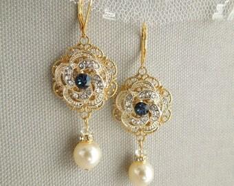 Bridal pearl Earrings Ivory swarovski Pearl Rhinestone Wedding Bridal Earrings Chandeliers crystal earrings Something Blue Earrings ROSELANI