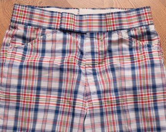 Plaid Golfer Pants, Crazy Disco Mod Funk Style Slacks, Vintage 60s, Men's Golfing Apparel, Golf Fashion, 30x26.5 Hemmed, 28