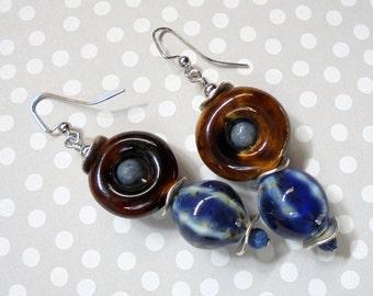 Brown and Denim Blue Rustic Boho Earrings (3174)