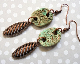 Mint Green and Copper Boho Rustic Earrings (3317)