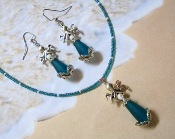 Teal Blue, White and Silver Octopus Necklace and Earrings (3458)