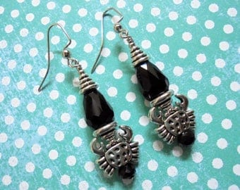 Black and Silver Crab Earrings (3469)