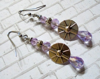 Lavender and Silver Boho Earrings (3575)