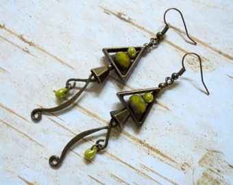 Chartreuse Green and Brass Boho Earrings (3582)