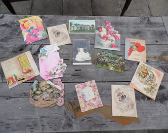 Greeting cards vintage lot of 10 greeting cards, 2 post cards, one photograph, all used, with flowers, dogs, birds, giraffe paper crafting