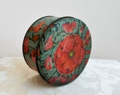 Vintage Poppies Floral Tin by Tindeco, Art Nouveau Flowers, Collectible Round Metal Storage Box