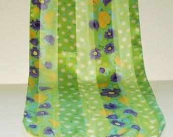 Vintage Scarf Long Green Purple Floral Print Retro Fashion Head Scarf Neck Purse Kerchief Scarf Accessory