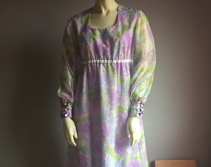 60s poet sleeve PASTEL GOTH scoop neck EMPIRE waist maxi dress mod bishop botanical floral print 1960s womens formal wedding guest retro