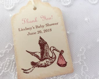 Personalized Baby Shower Tags Thank You Favor Tags Stork Set of 10