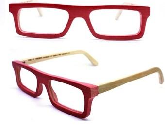 ON SALE customize TAKEMOTO Take handmade  square  red bamboo  prescription eyeglasses  Mjx1201 C0501