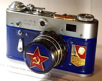"""Blue USSR Vintage Red Star """"FED-3"""" camera Russian Leica -=Champion of Communistic Work=-"""