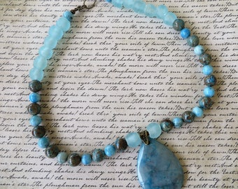 Bright Blue Sea Glass Lace Agate And Jasper Beaded Necklace With Agate Pendant