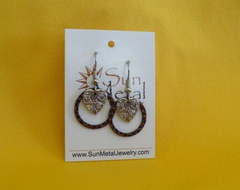 You gotta have a little heart antique copper and silver earrings (Style #431S)