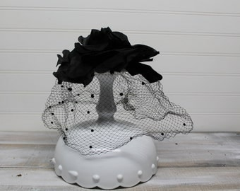 Vintage Black Flowered Veil Hat, Polka Dot Veil