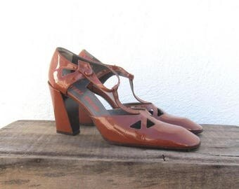 15% Off Out of Town Sale 90s Miu Miu Square Toe Auburn Patent Leather Block Heels Maryjanes Ladies Size 37