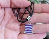 Purple Stripes Dr. Seuss Cat in the Hat Charm Necklace on Black Organza Ribbon and Cord Chain - Adjustable