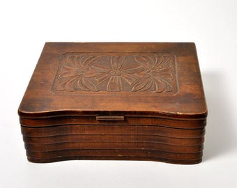 Vintage Folk Art Wooden Box Hand Carved Dovetailed Document Box