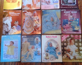 Vintage 1970's 1980's Leisure Arts Leaflet Baby Knitting Magazine Lot Instructions Patterns