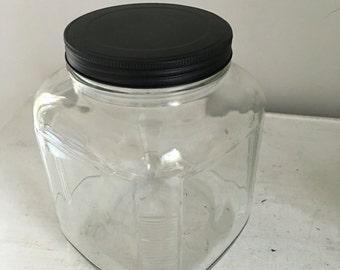 Clear Glass Vintage Cookie Jar, Vintage Cookie Jar, Storage Jar, Biscuit Jar, Vintage Glass Jar, Glass Canister, Glass Display Jar