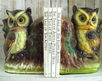Vintage Ceramic Owl Bookends Set of 2