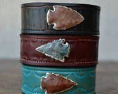 ON SALE LUX Recycled Leather Silver Agate Arrowhead Gemstone Stacking Cuff