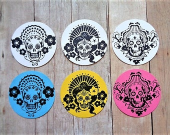 Sugar Skull Stickers Day of the Dead Envelope Seals Dia de los Muertos Party Favor Sticker Labels Skulls Wedding Mexican Gothic Halloween