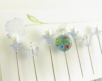 Fancy Sewing Pins Blue Millefiori and Butterflies