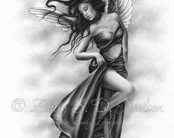 Angel Above Wings Satin Sky Heaven Art Print Emo Fantasy Girl Zindy Nielsen