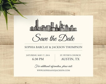 Austin Skyline Save the Date, completely customizable; SAMPLE ONLY