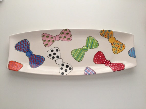 Derby bowtie platter,  Horse racing plate, Derby party plate, Bow tie platter, Derby pottery, Derby party platter