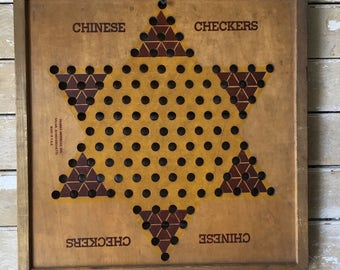 Vintage Retro Chinese Checker Board Brown an Gold  Rare