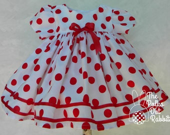 Baby-Toddler Retro Shirley Temple Empire Waist Pageant-Party Dress, Red - White Polka Dots, Satin Ribbon Trim, Sizes 9-18 month - 2T and 3T