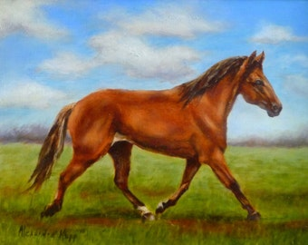 Morning Trot 9x12 oil painting by Alexandra Kopp