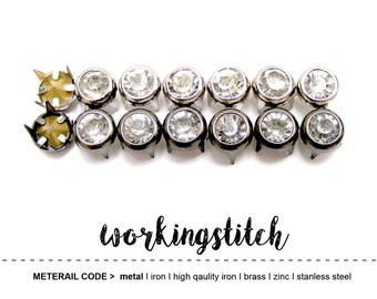 100 pcs 7mm clear glass Rhinestone Crystal in silver/gunmetal frame studs nailhead spikes with 4 prongs