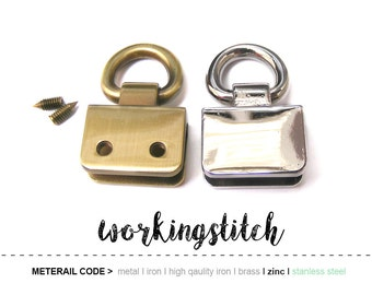 2sets D rings with Attached Part with Screws Bag Purse Hardware/ High Quality