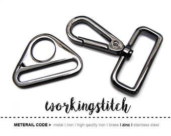 2sets ZINC Gunmetal push gate hook Swivel hook and Triangle Rings