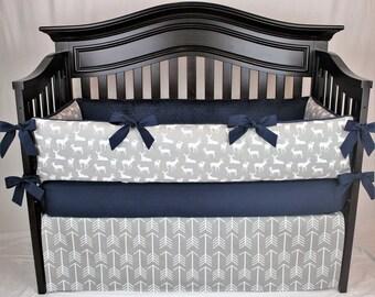 LOGAN 5 pc Baby Bedding Set | Gray and White Arrows, woodland deer nursery